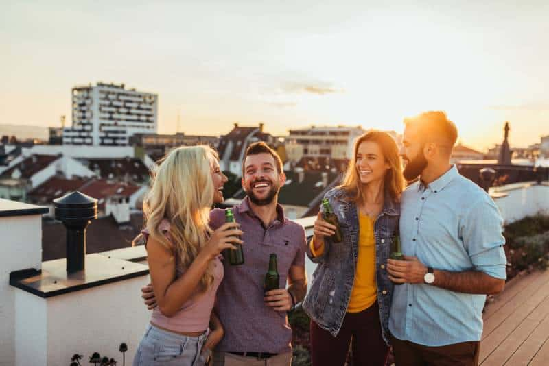 friends having on a rooftop