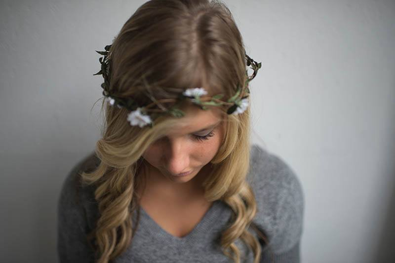 girl with small wreath over her head
