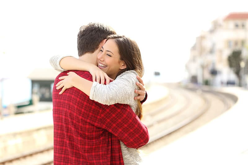 happy couple in hug