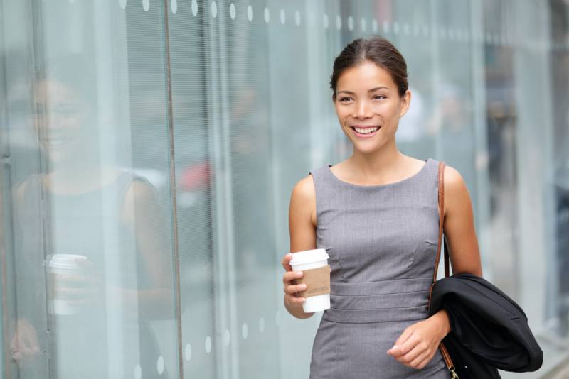 business woman walking and drinking coffee