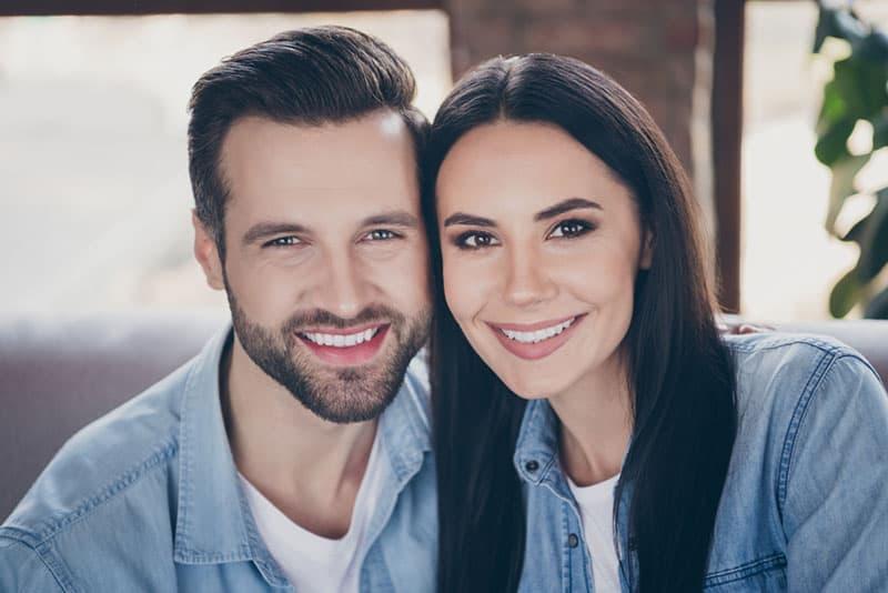 happy couple posing