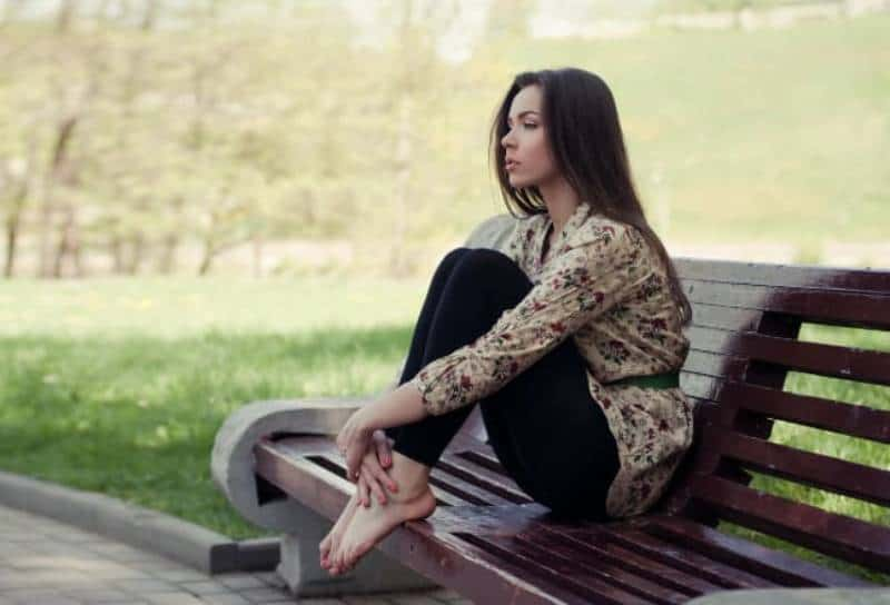lonely woman in park