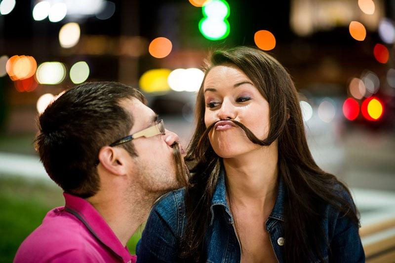 silly couple having fun