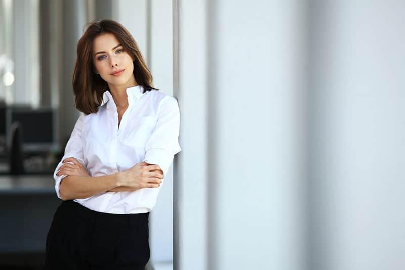 woman posing in white shirt
