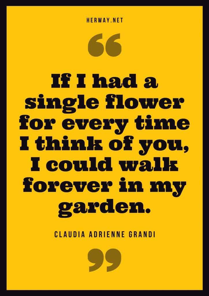 """If I had a single flower for every time I think of you, I could walk forever in my garden."" – Claudia Adrienne Grandi"