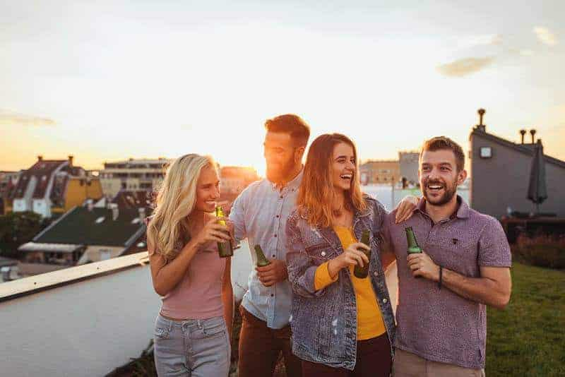 happy group of friends outside