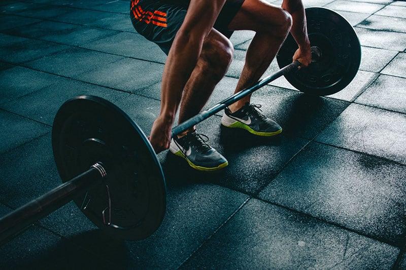 man practising in the gym