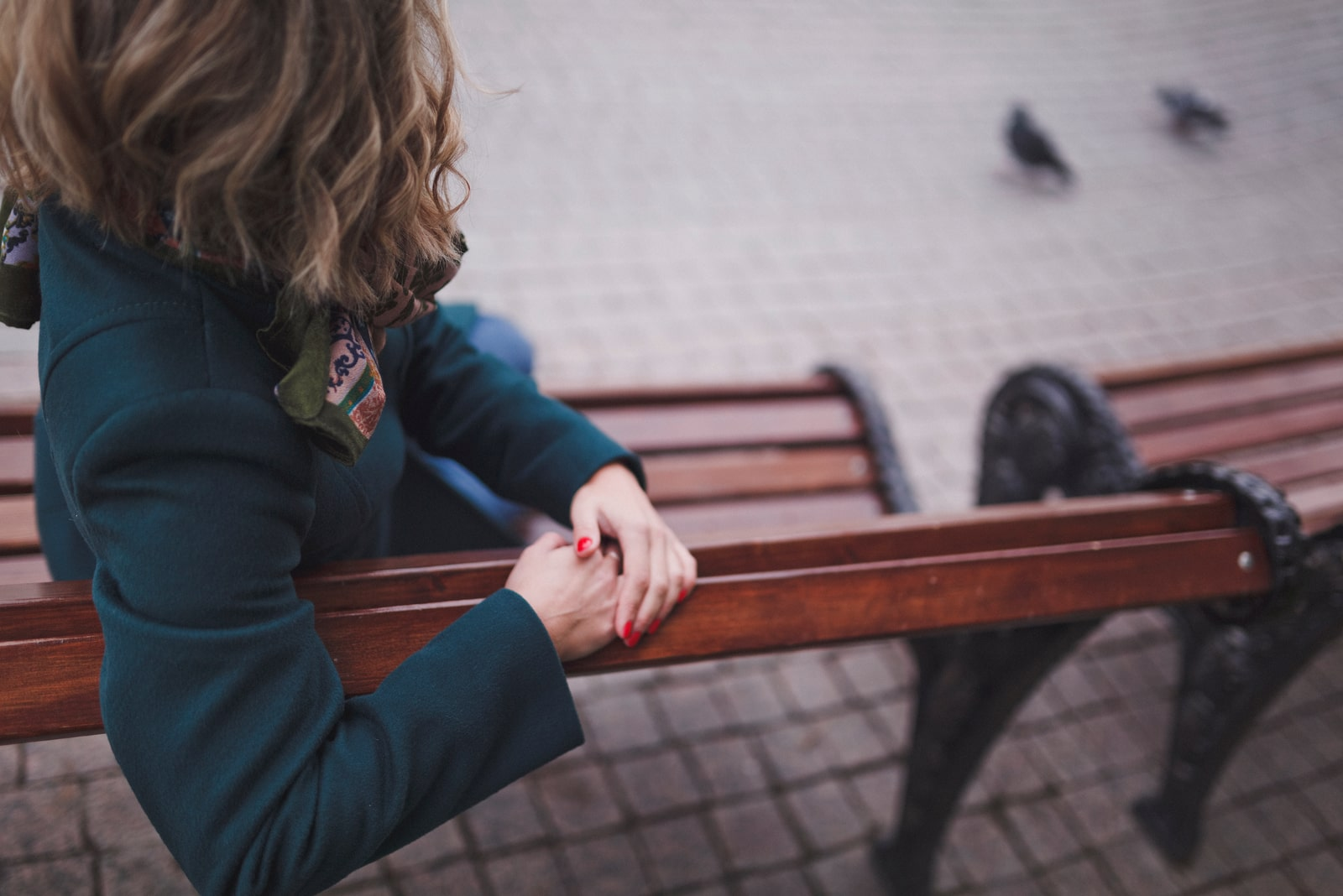 woman sitting on the bench and watching urban birds