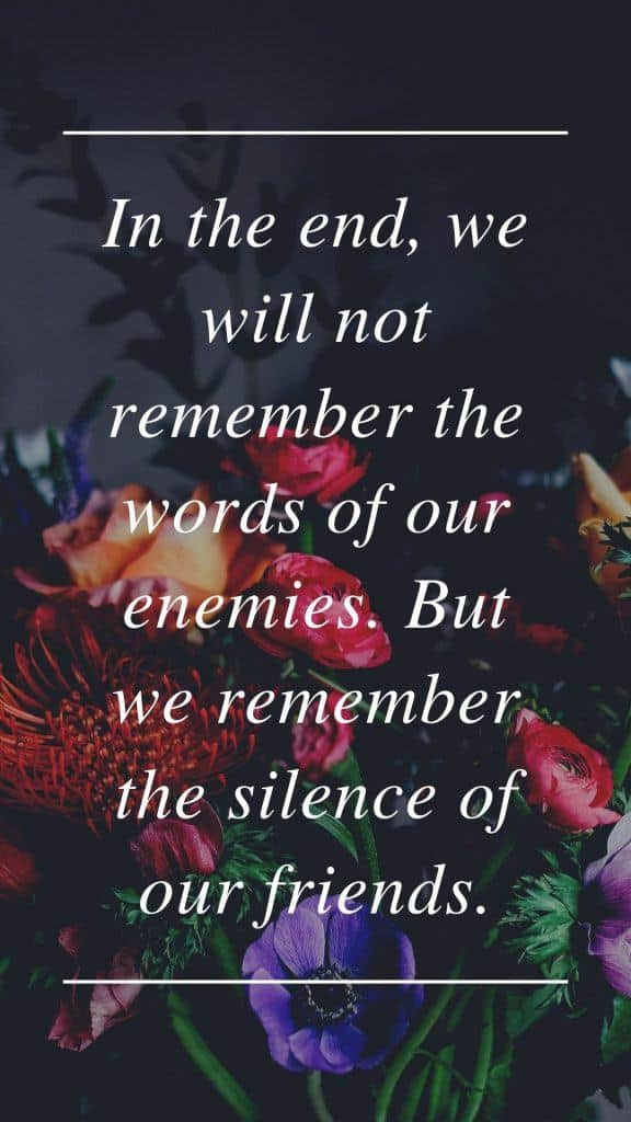 In the end, we will not remember the words of our enemies. But we remember the silence of our friends.