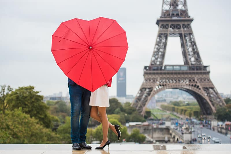 couple holding umbrella in Paris