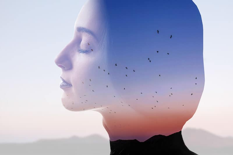 mindful woman with closed eyes