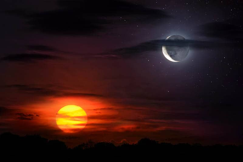 photo of sun and moon
