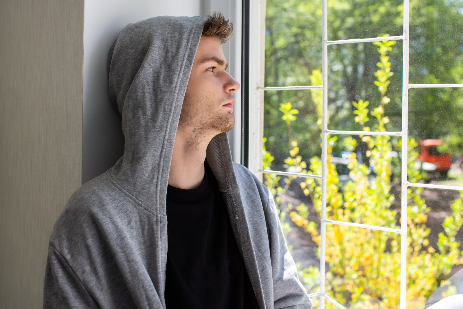 sad pensive young man