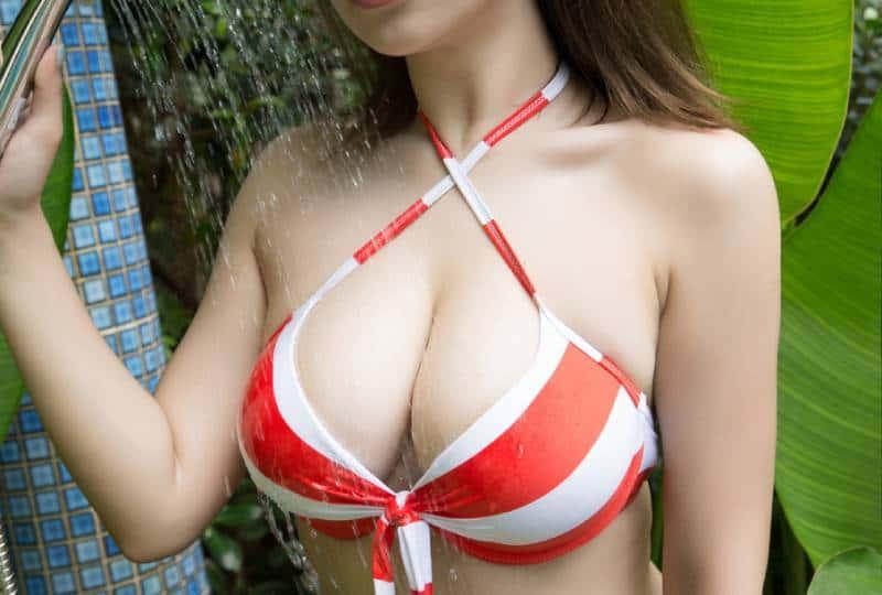 woman with large breast in bikini