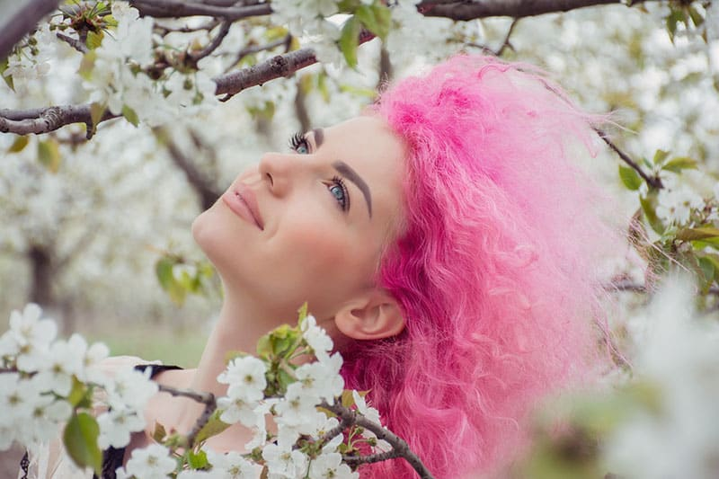 woman with pink hair modeling