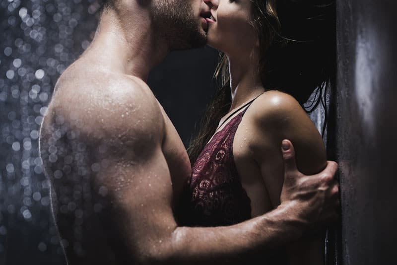 young couple kissing passionately