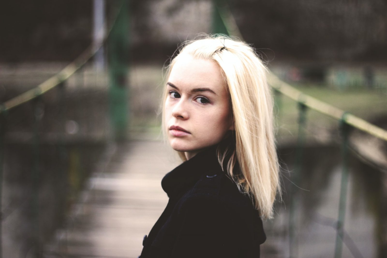 blonde pensive woman
