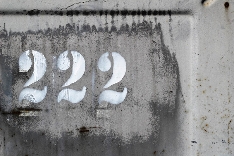 number 222 on surface outside