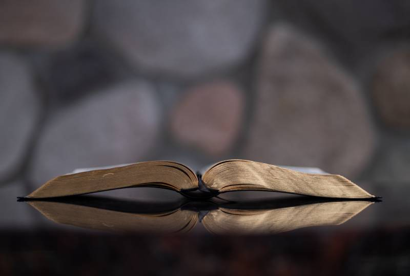 open bible book on table