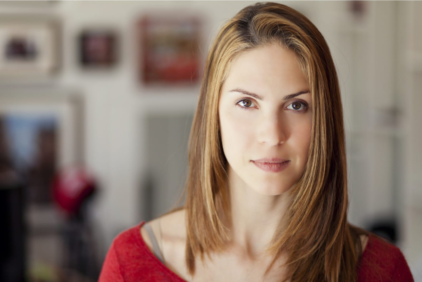 portrait of an attractive serious brunette