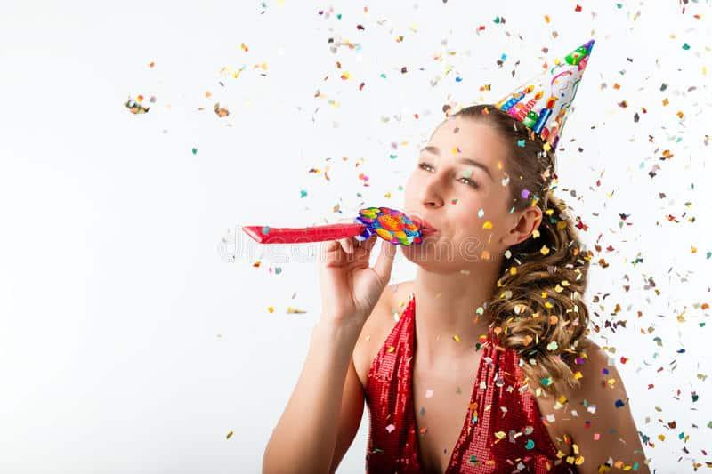 woman celebrating birthday with white background