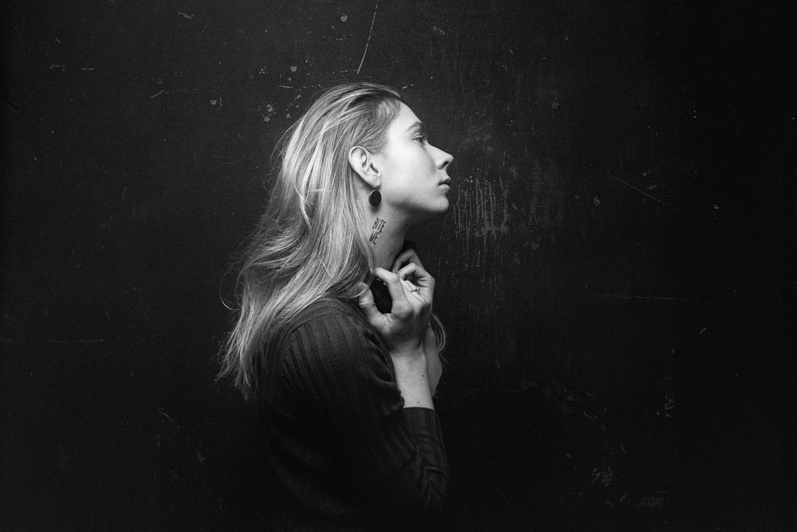 woman in darkness sad