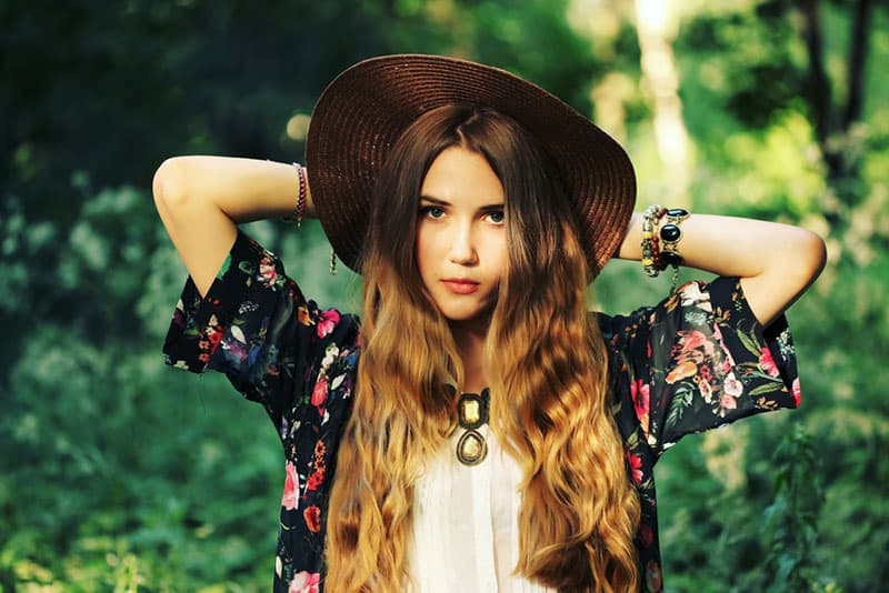 modern hippie woman posing
