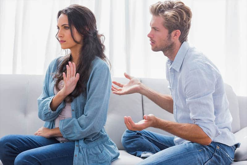 angry woman refuse to talk with man