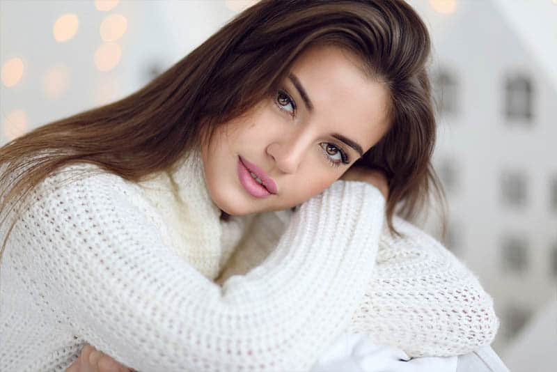 beautiful brunette wearing sweatshirt
