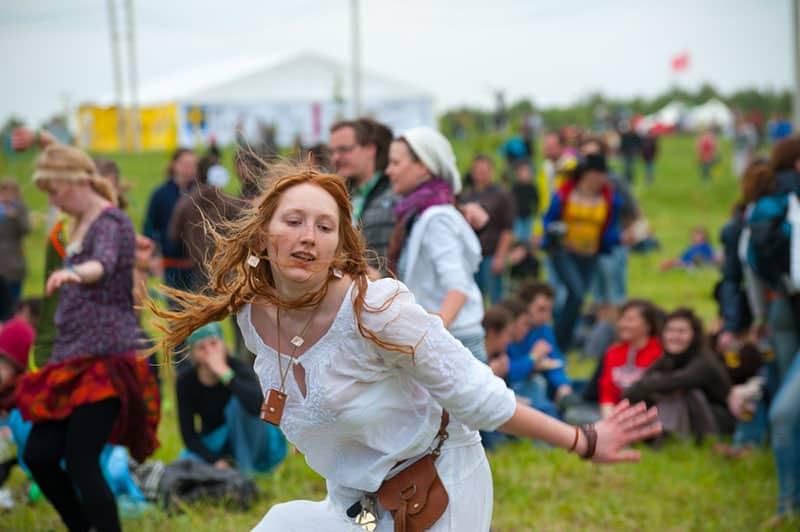 hippie woman dancing