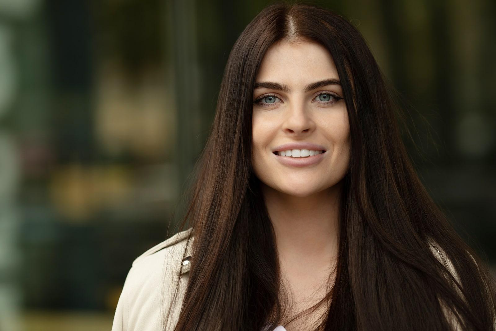 portrait of a beautiful smiling brunette