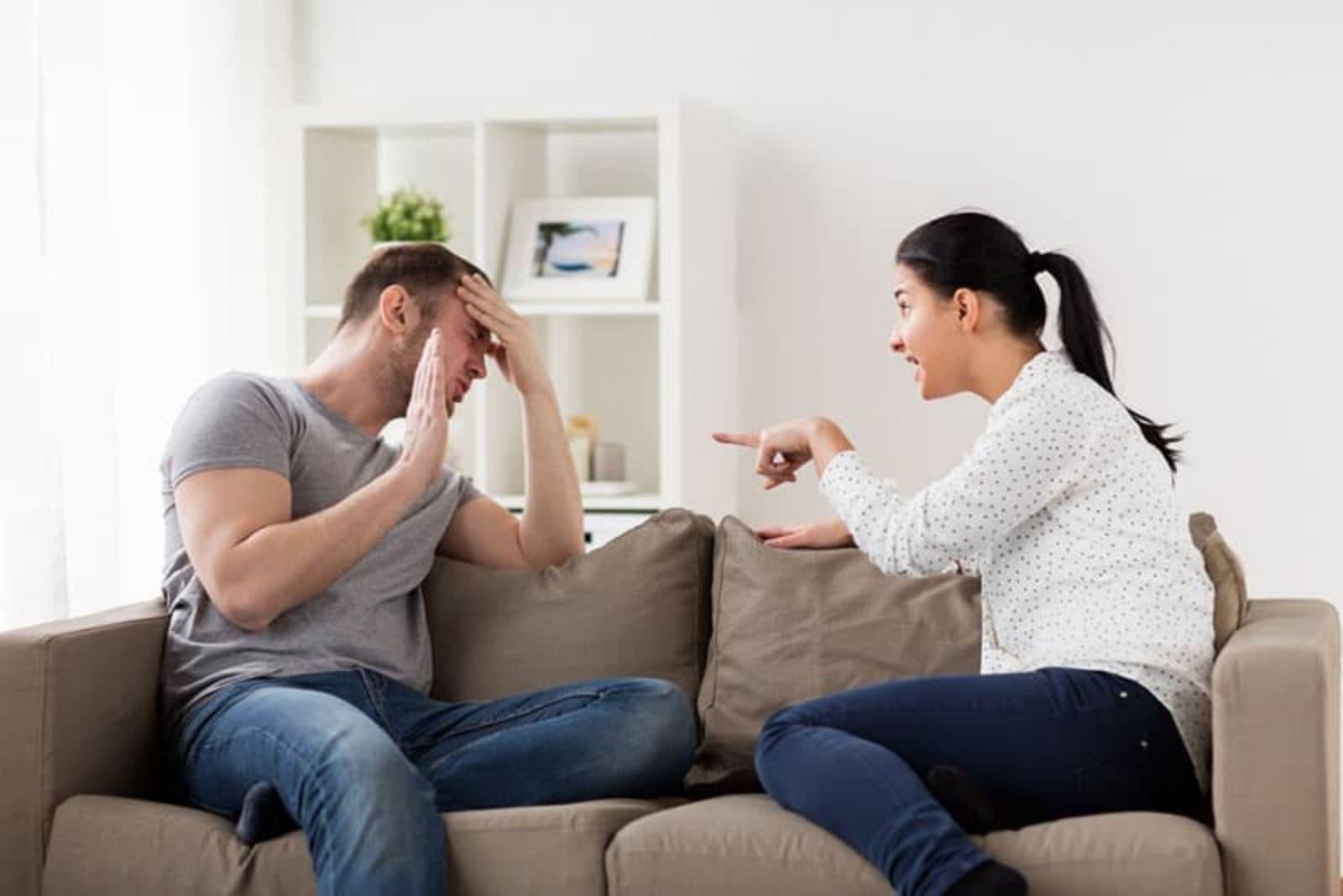 the woman yells at the man