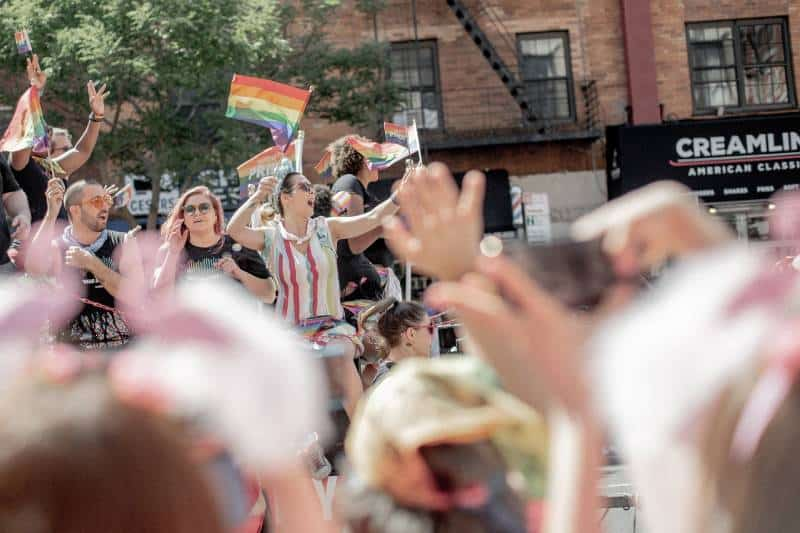 LGBT community rallying on the street