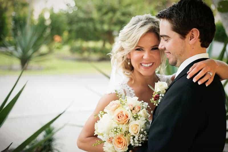 groom and bride posing