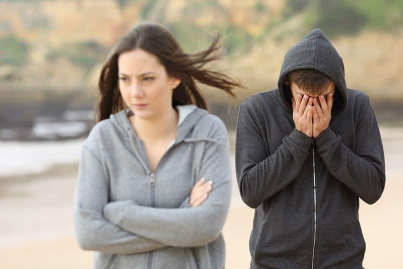 woman leaving a man