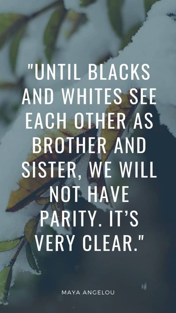 Until blacks and whites see each other as brother and sister, we will not have parity. It's very clear