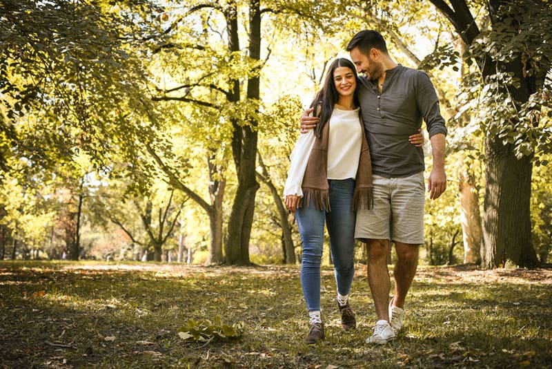 couple walking together in nature