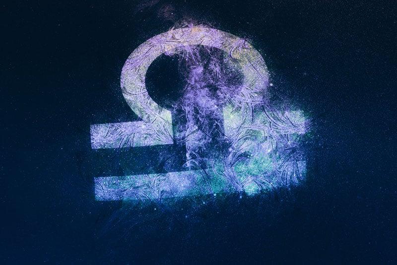 Libra Zodiac Sign. Night sky background