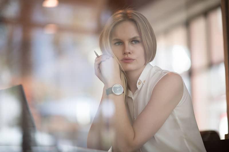 tense woman looking away