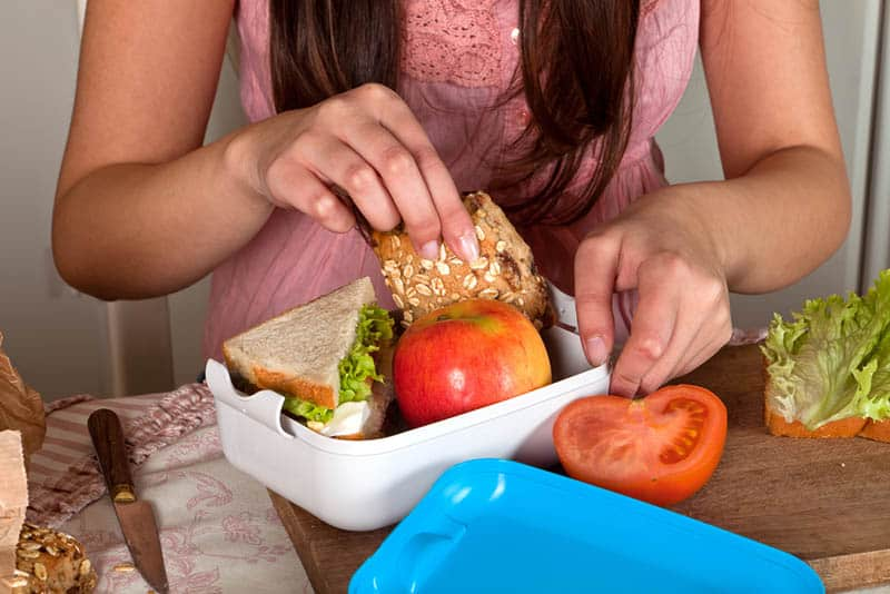 woman packing lunch