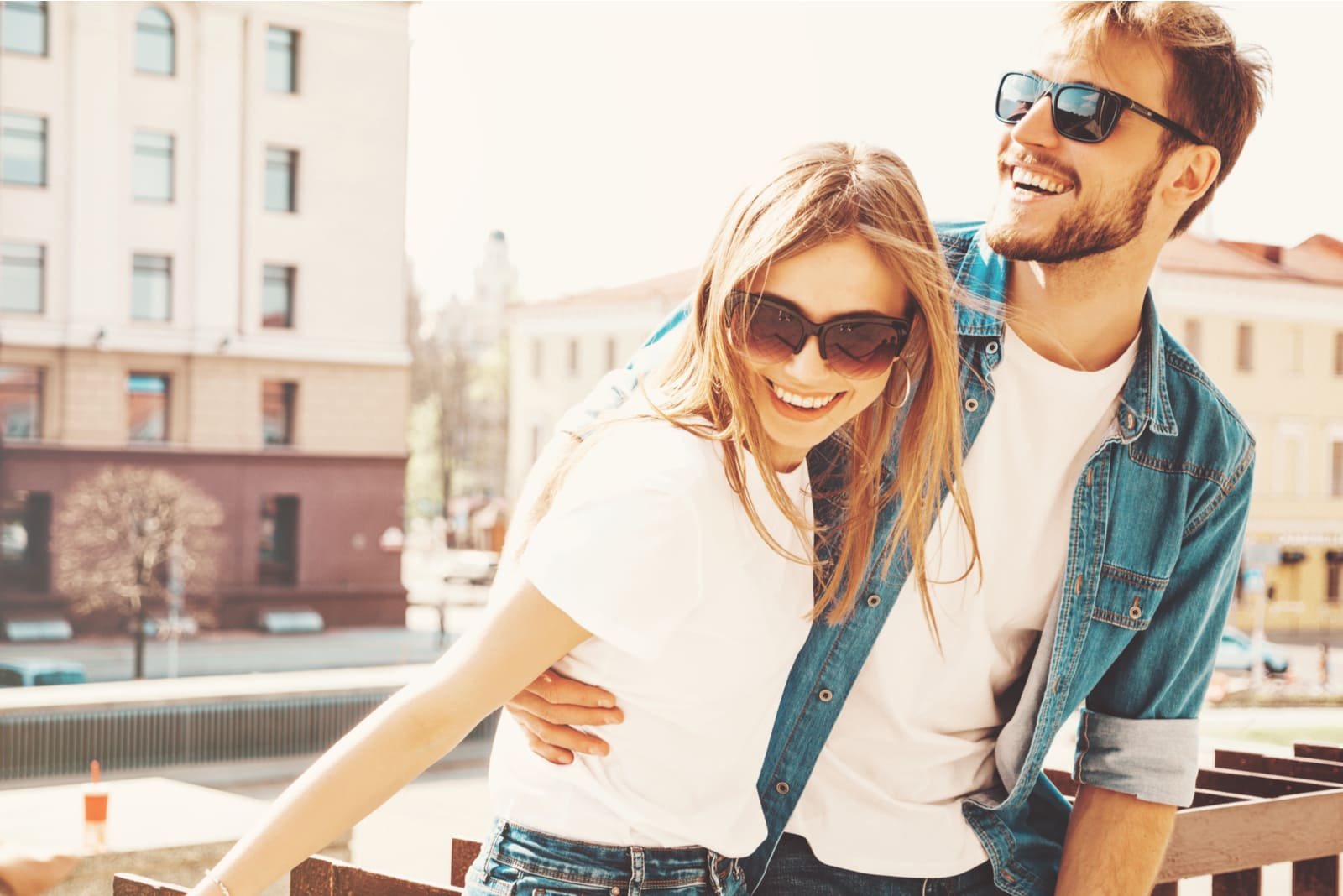 Portrait of smiling beautiful girl and her handsome boyfriend