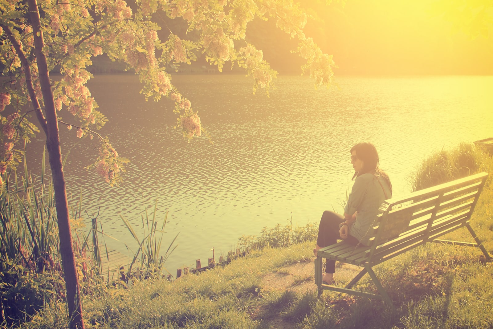 at sunset a woman sits alone on a bench by the river