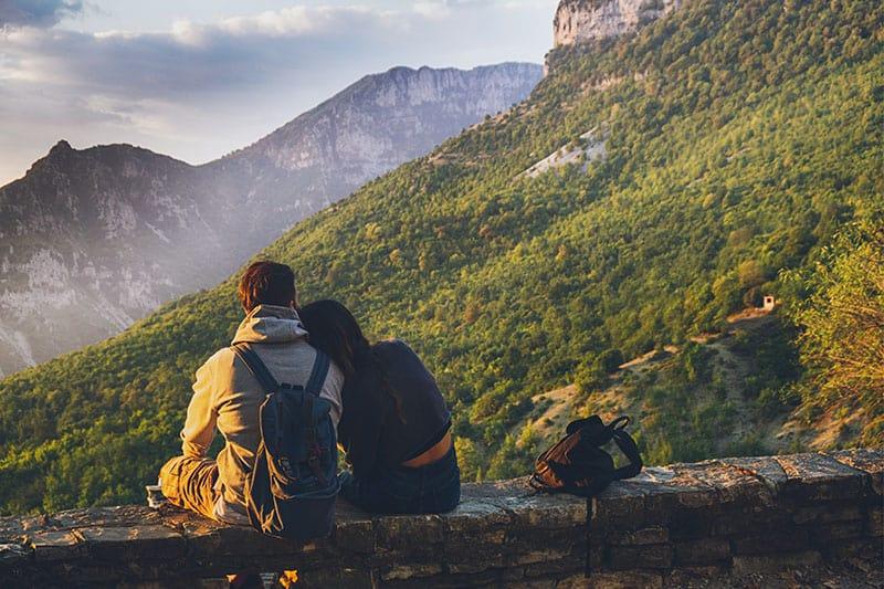 couple in a beautiful landscape
