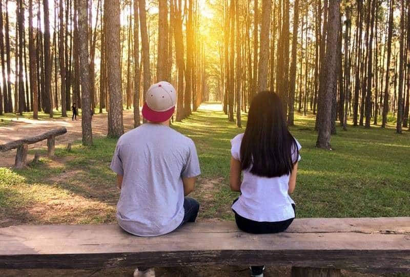 back view of man and woman sitting around trees