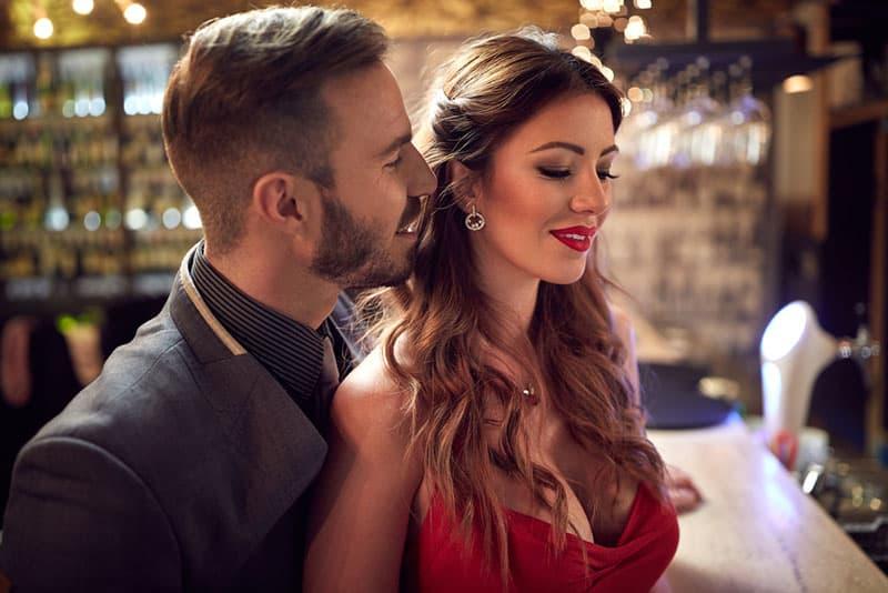 man flirting with sexy woman