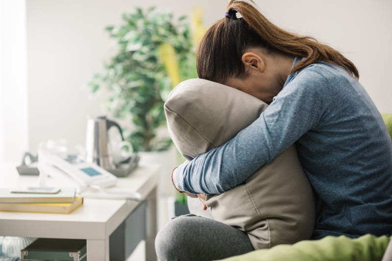 Unhappy lonely depressed woman