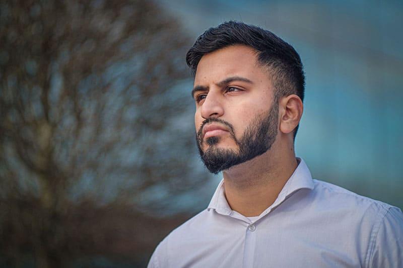 handsome man lookin into distance