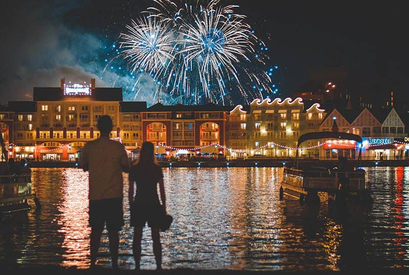 back view of man and woman looking fireworks