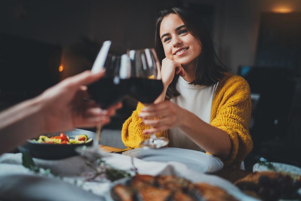 a loving couple having dinner at a restaurant