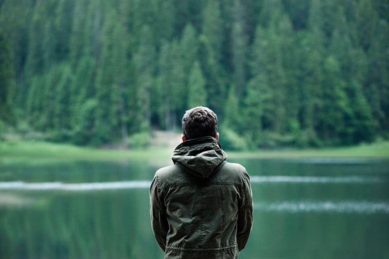 man by th lake